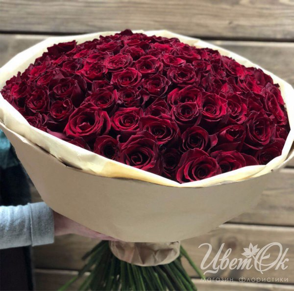Букет роз 101 бордовая — photo 4